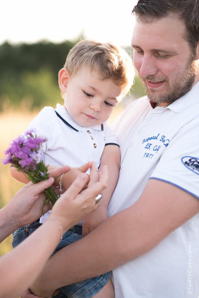 coccinelle enfant papa fleurs violet