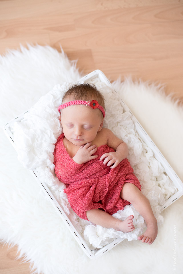 bébé panier blanc coquelicot headband fille corail
