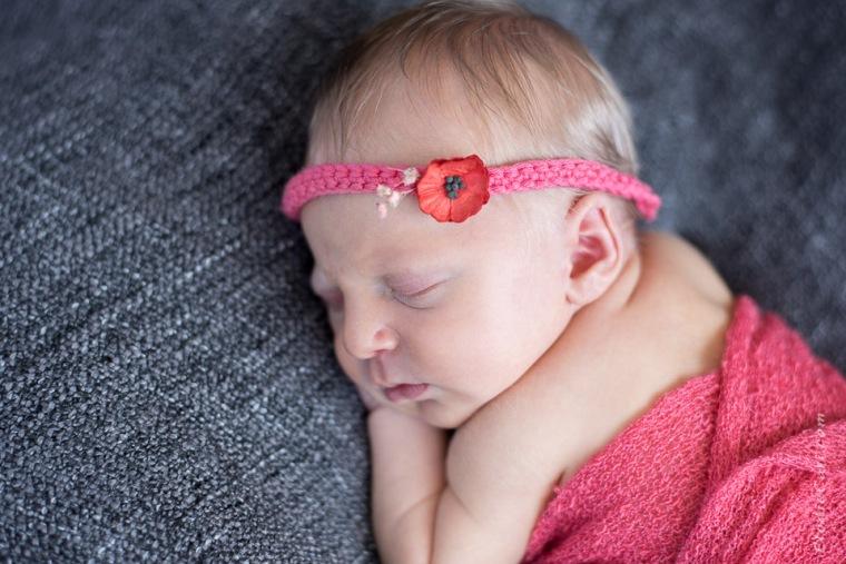headband bandeau coquelicot fleur corail gris