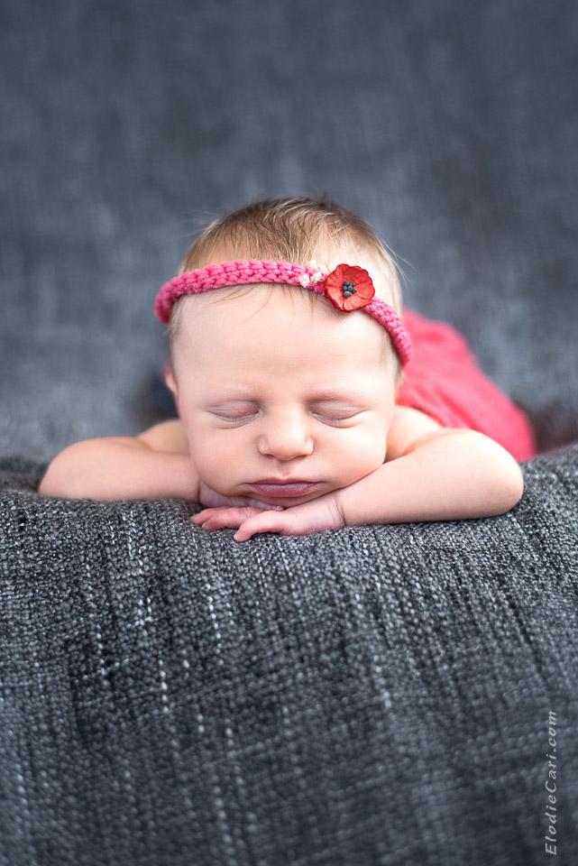 bébé face bandeau coquelicot fleur rose gris